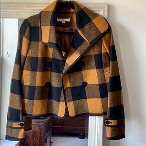 LOFT golden yellow & black buffalo plaid coat (XS)